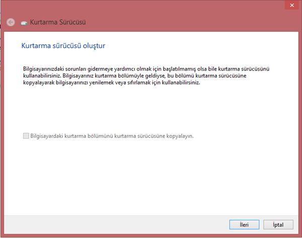 Windows 8.1 Kurtarma Sürücüsü Oluşturun