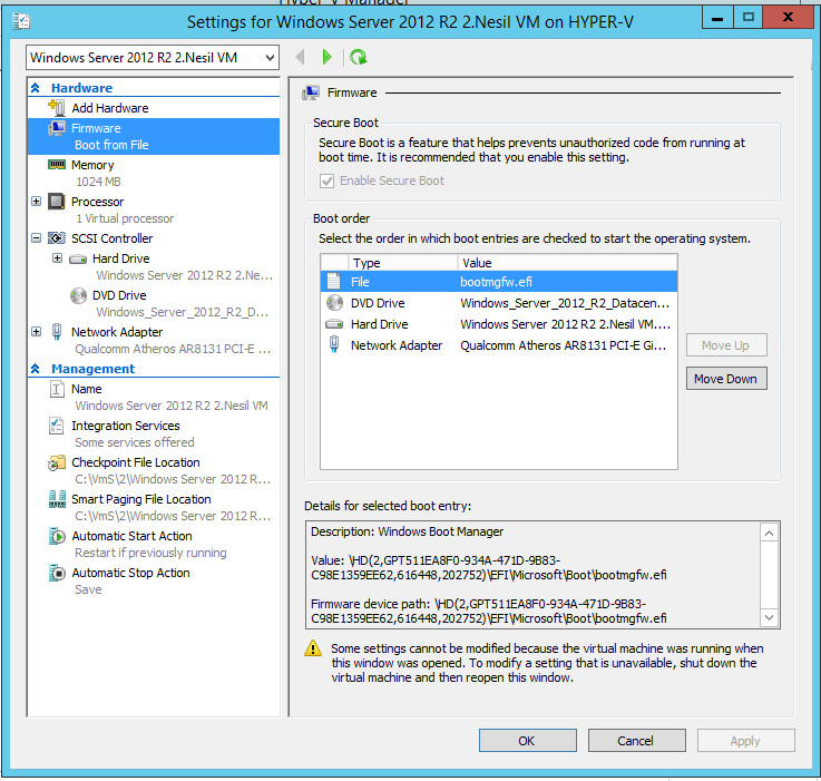 Hyper-V Generation 2 Virtual Machine Nedir ?
