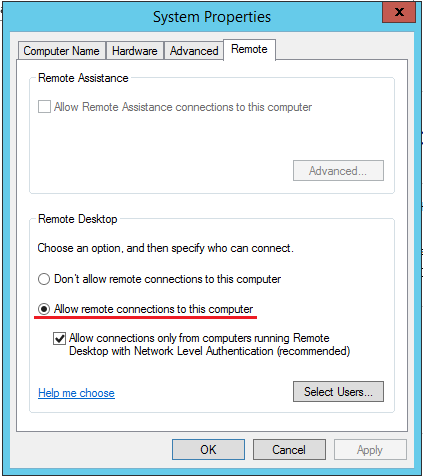 Windows Server 2012 R2 RDP Problemi