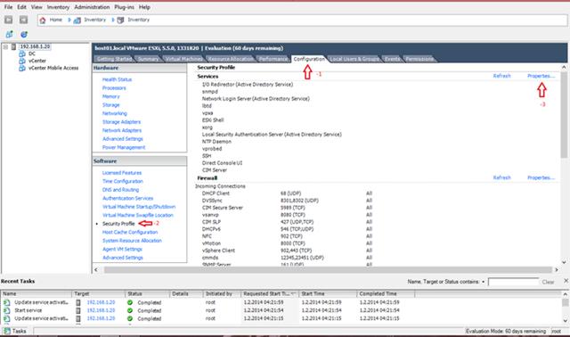 vSphere Client Üzerinden SSH Etkinleştirin