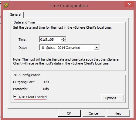 Vmware ESXi Time Configuration NTP Server Yapılandırma