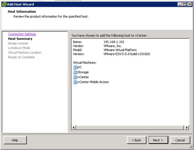 vCenter 5.5 Add a Host