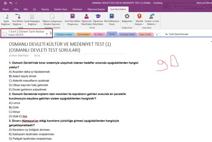 OneNote Class Notebook Eklentisi ile Öğrenci Çalışmasını Gözden Geçirme
