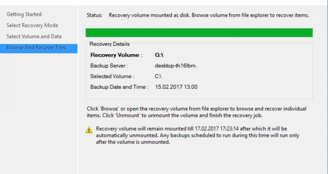 Microsoft Azure Backup Recovery Volume Mounted