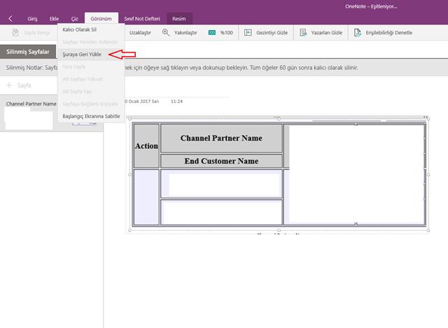Windows 10 OneNote Silinen Notları Kurtarma