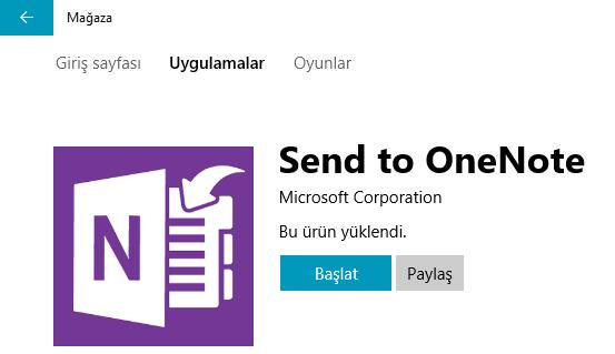 Send to OneNote Uygulaması ile Belgelerinizi Windows 10 OneNote'a Yazdırın